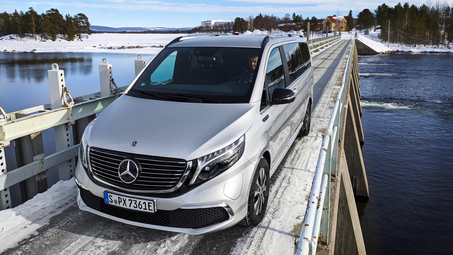 Mercedes-Benz EQV testing in Arjeplog, Sweden