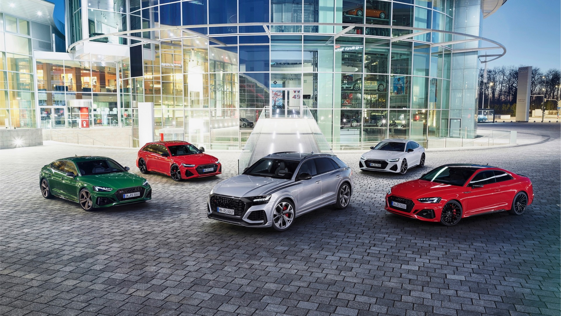 (left to right) Audi RS 5 Sportback, RS 6 Avant, RS Q8, RS 7 Sportback, RS 5 coupe