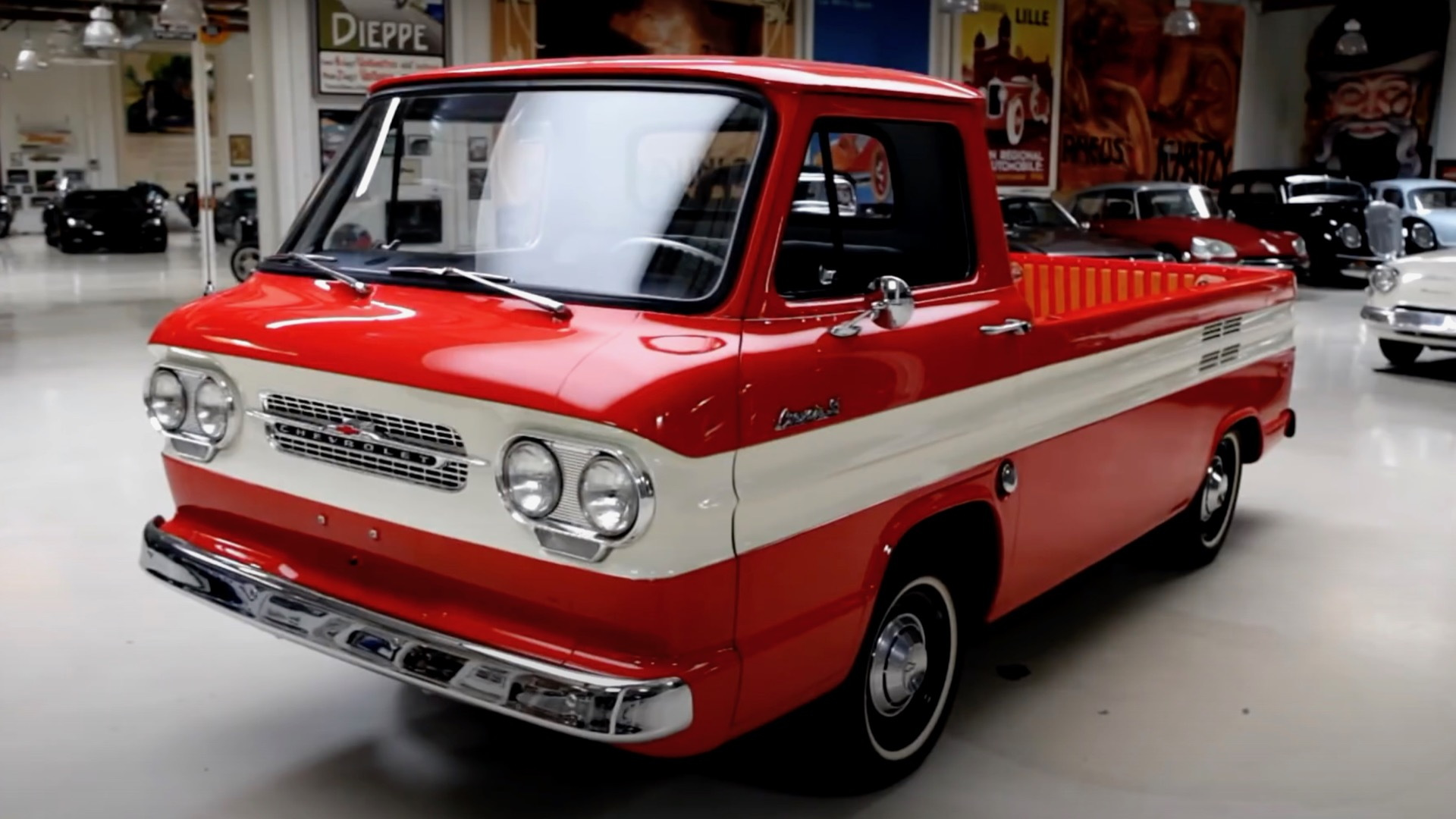1961 Chevrolet Corvair ramp side pickup truck on Jay Leno's Garage