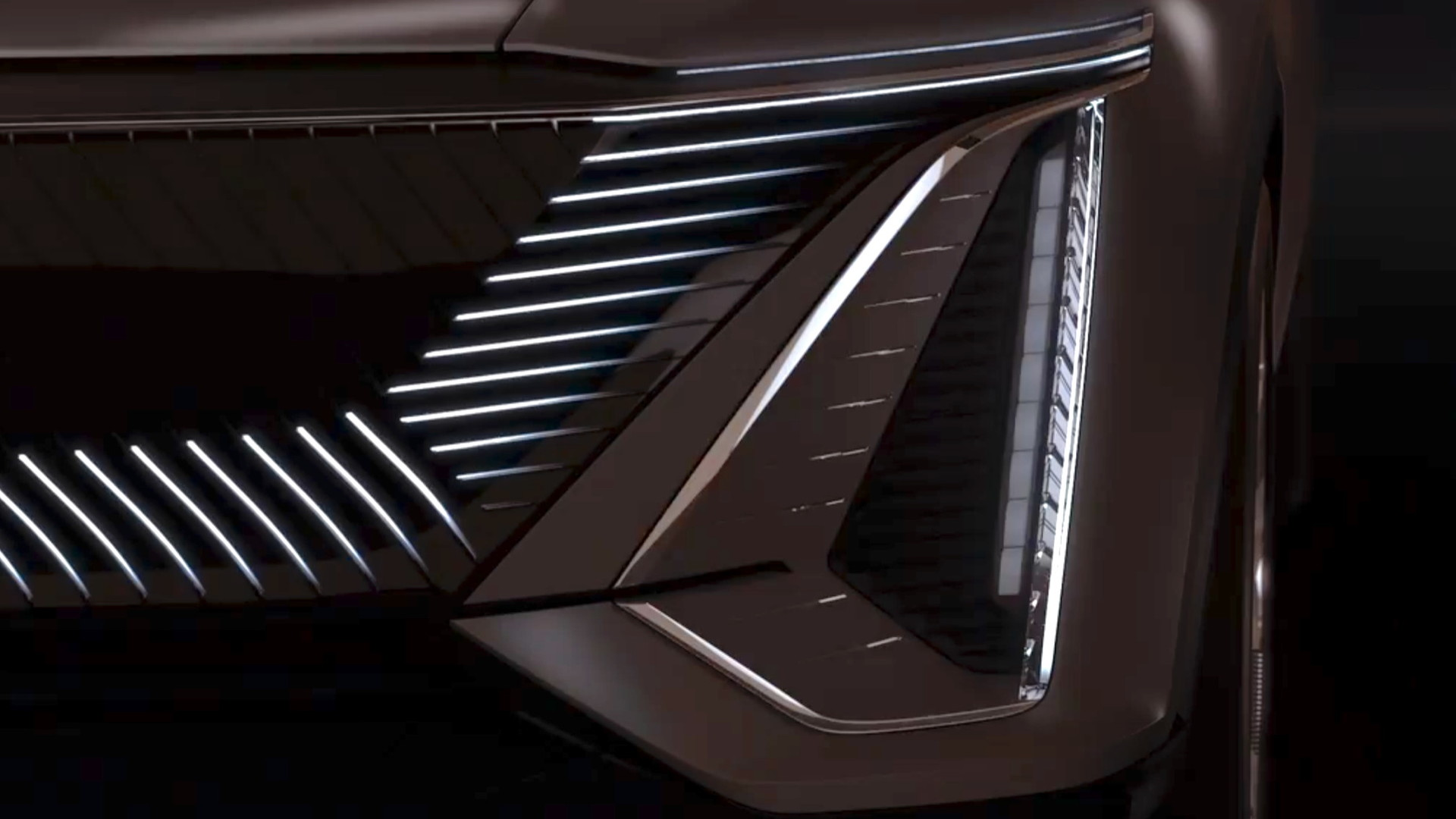 Cadillac Lyriq front corner  -  from teaser video, June 2020