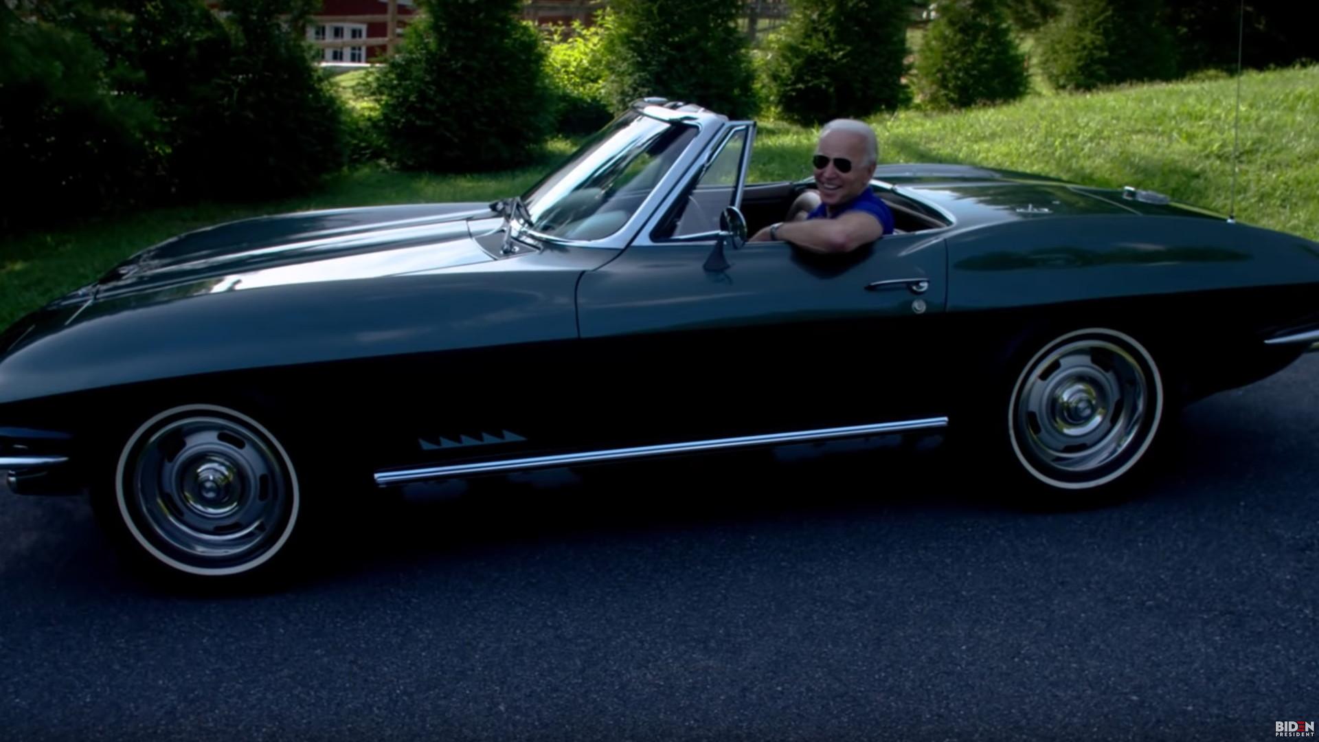 Joe Biden in a C2 Corvette in campaign video