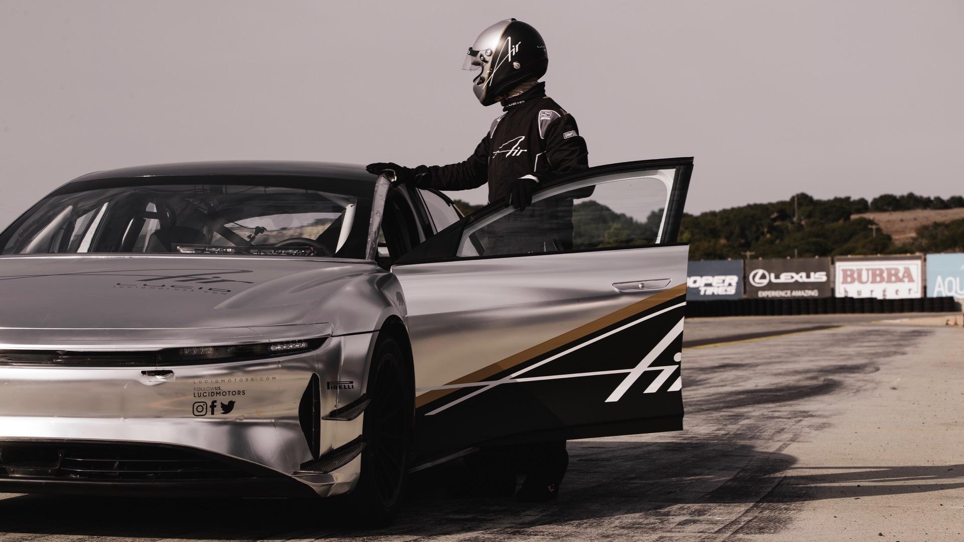 Lucid Air tri-motor prototype testing at Laguna Seca