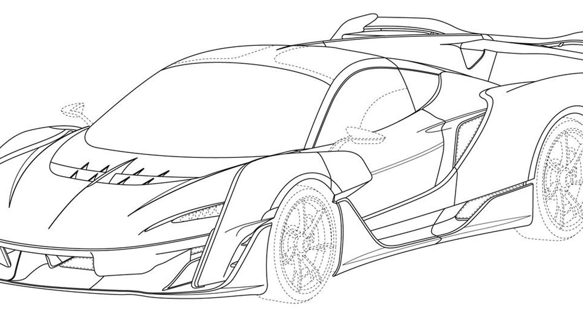Patent drawings of possible McLaren supercar - Photo credit: Taycan EV Forum/J-PlatPat