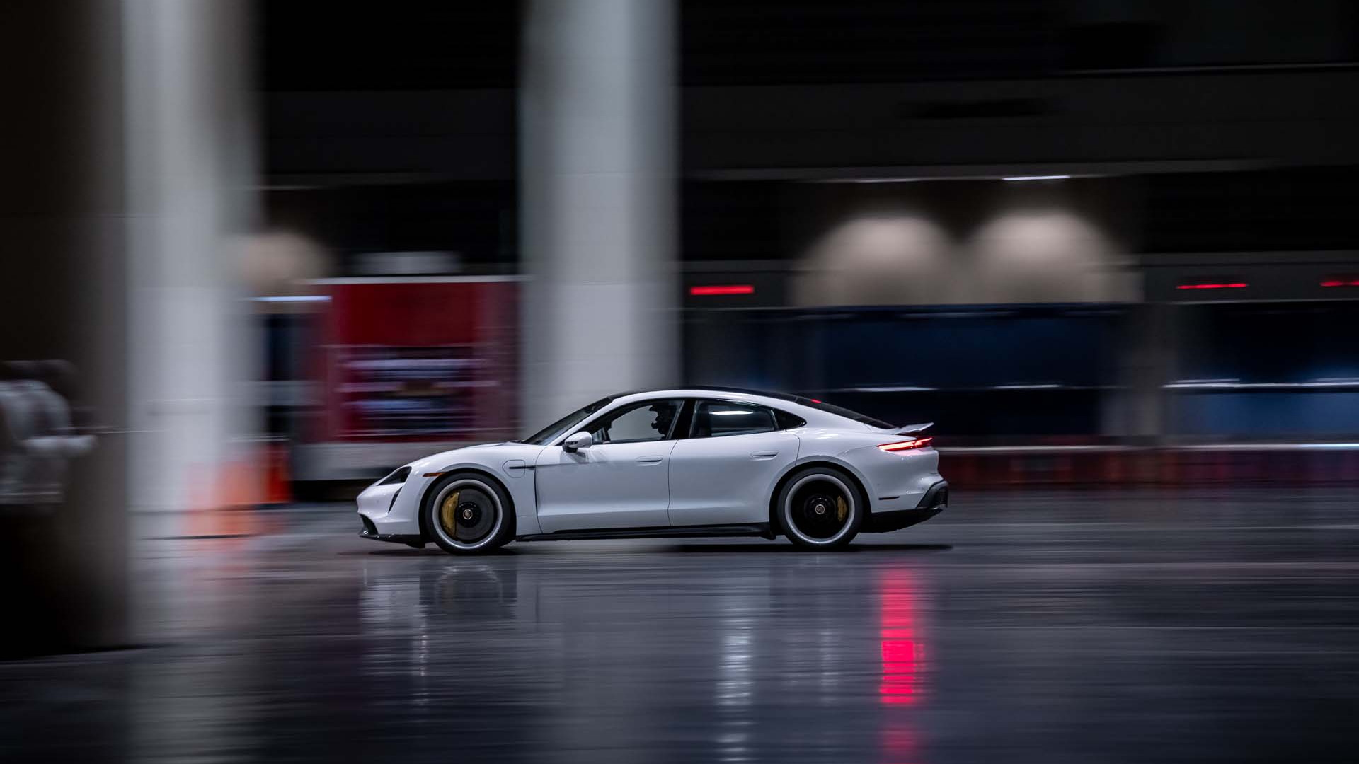 Porsche Taycan Turbo S sets indoor land speed record of 102.6 mph - February 2021