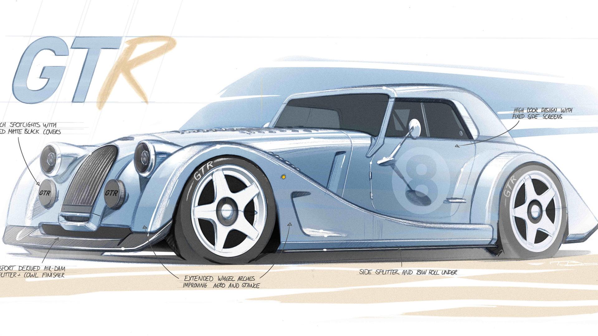 Teaser for Morgan Plus 8 GTR debuting in 2021