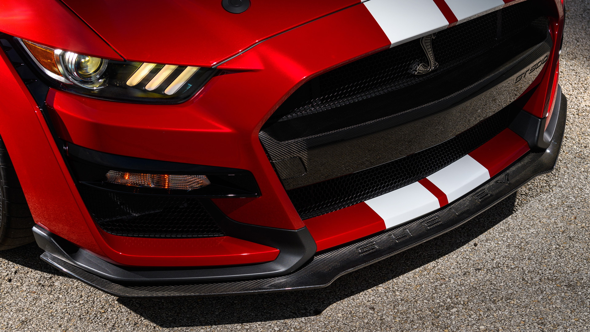 Ford Mustang GT500 carbon-fiber front splitter and grille insert from Ford Performance