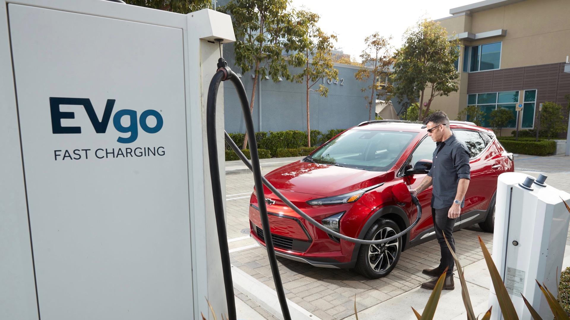 2022 Chevrolet Bolt EUV at EVgo fast-charging station