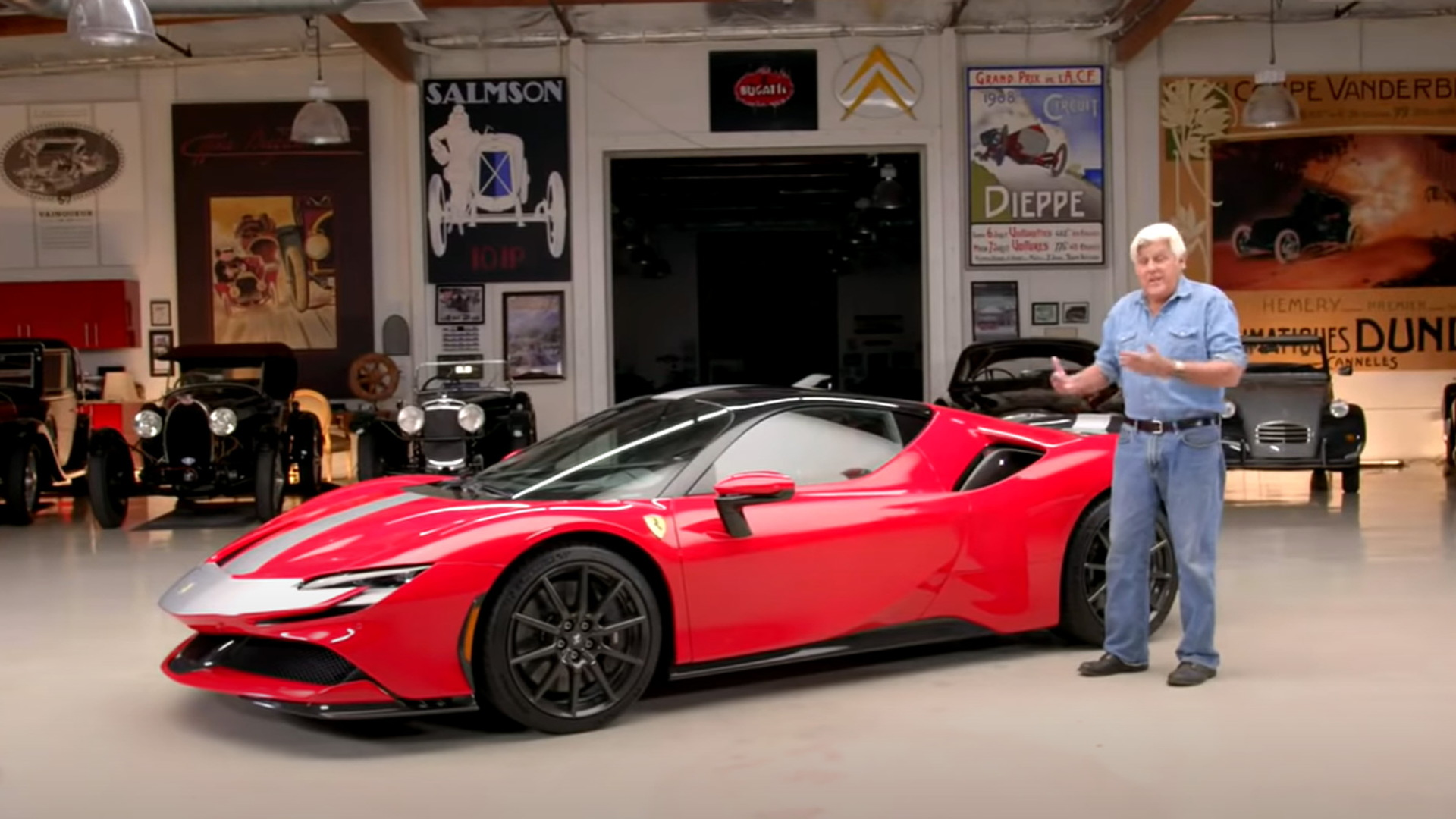 Jay Leno with the Ferrari SF90 Stradale