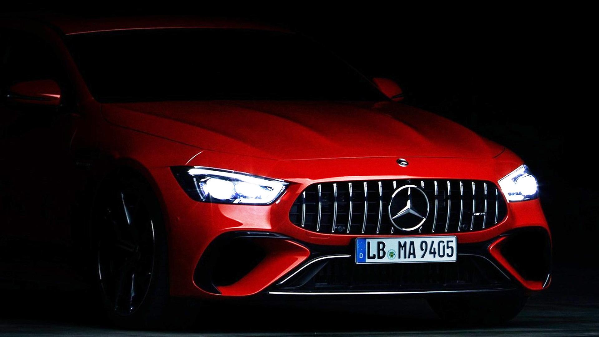 Teaser for Mercedes-Benz AMG GT 4-Door Coupe plug-in hybrid debuting on Sept. 1, 2021