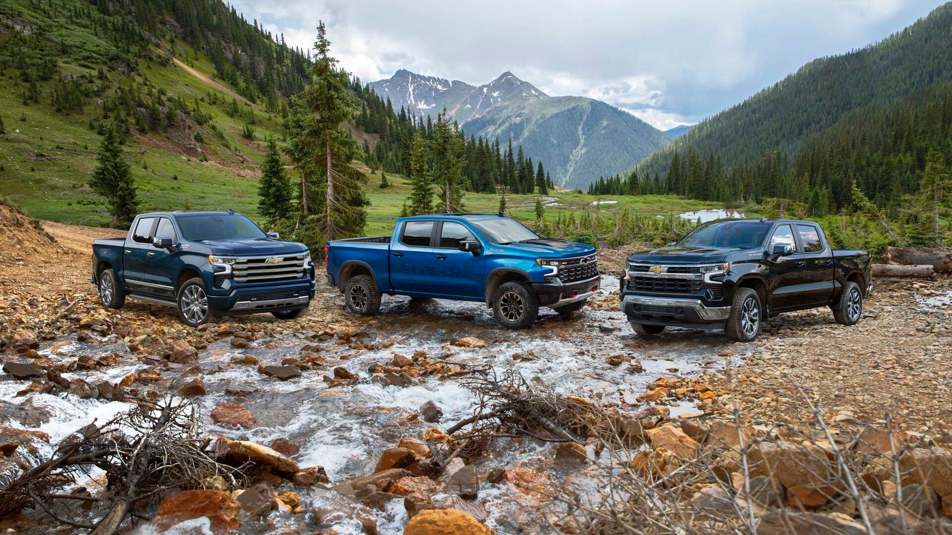 2022 Chevrolet Silverado 1500 High Country, ZR2, LT, from left to right