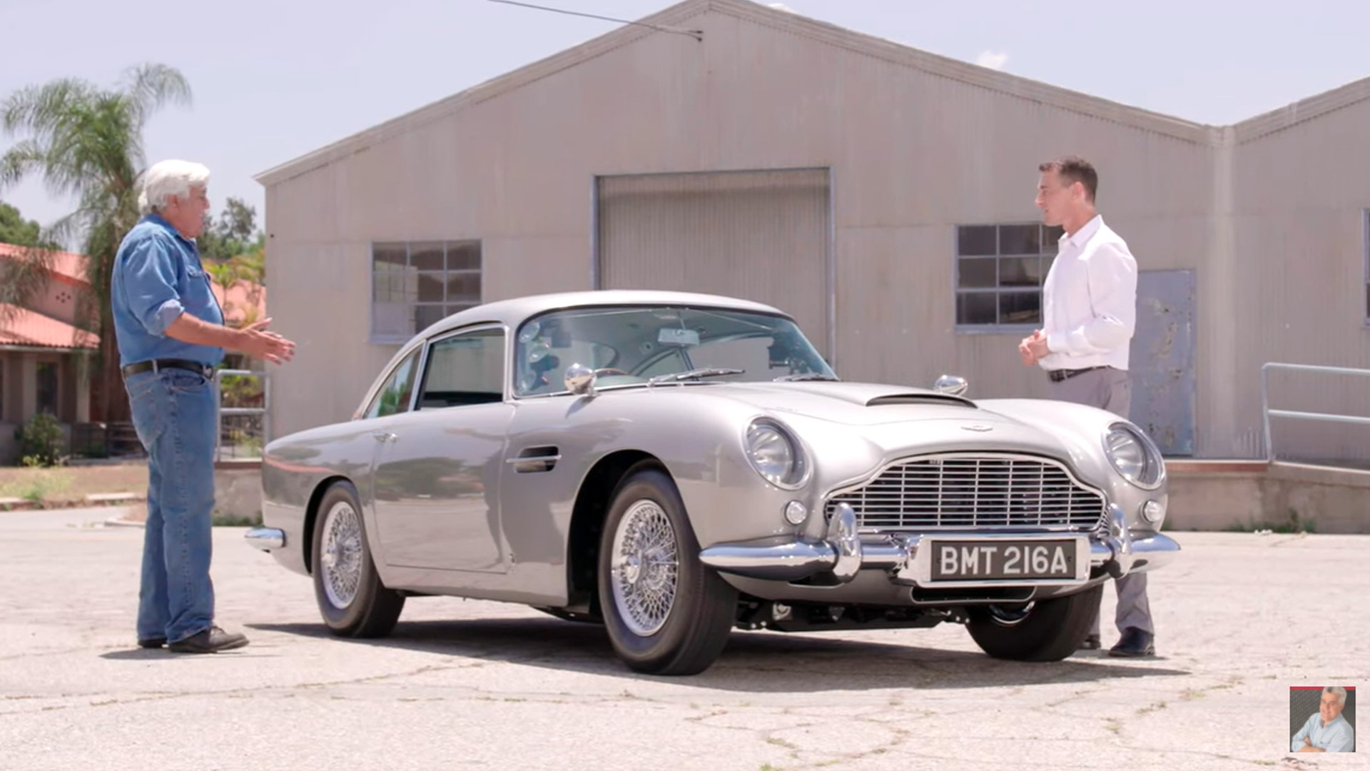 """Jay Leno and the Aston Martin DB5 """"Goldfinger"""" continuation car"""