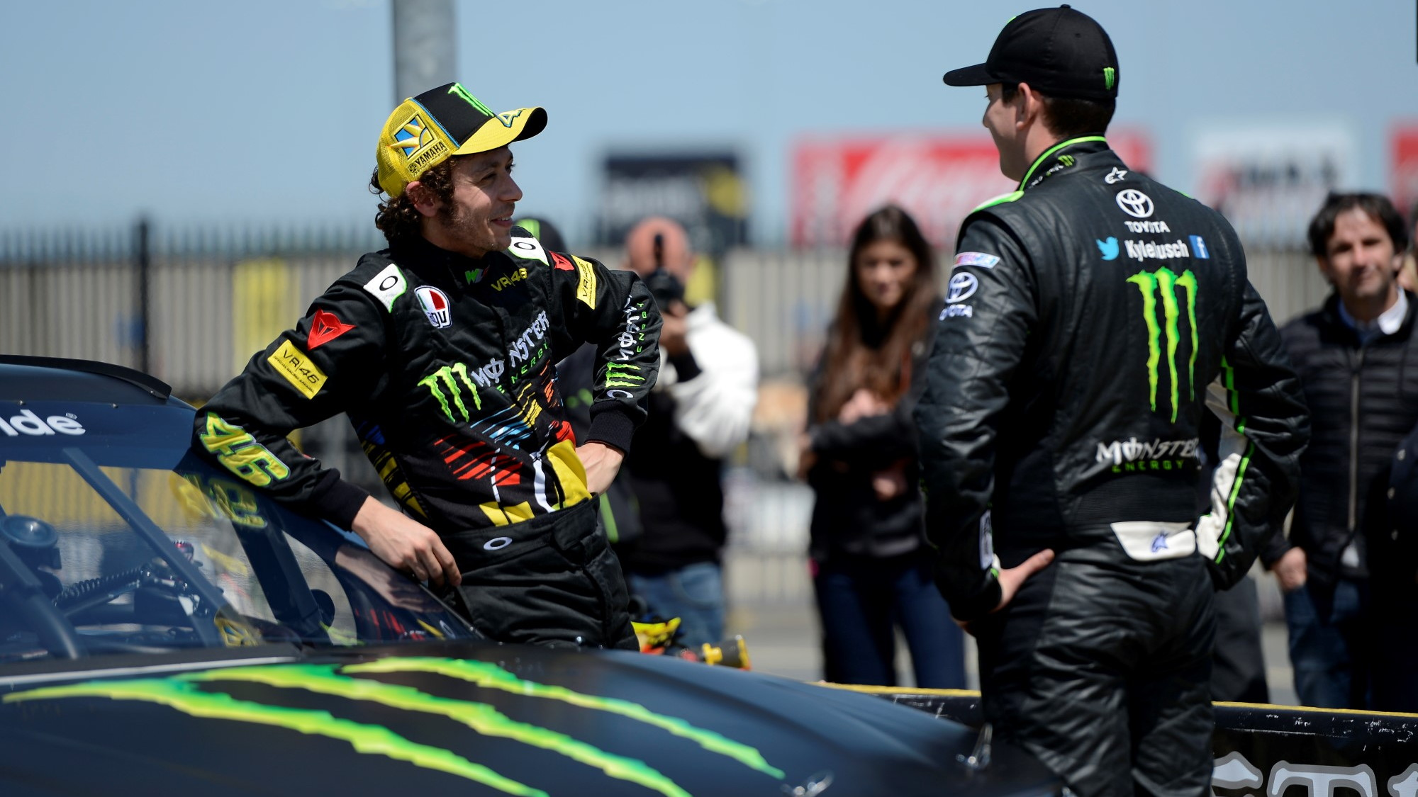 Valentino Rossi tests Kyle Busch's NASCAR Nationwide Toyota Camry
