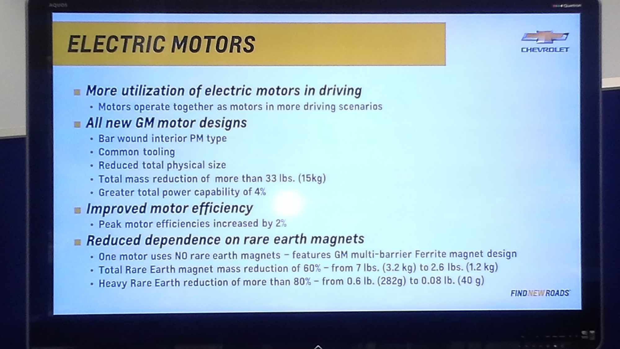 2016 Chevrolet Volt powertrain - electric motors detail advance briefing, Oct 2014