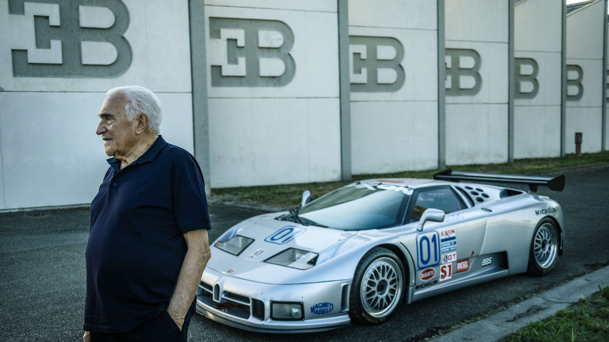 Romano Artioli with the Bugatti EB110 SC GTS-1 built for the American IMSA GT championship