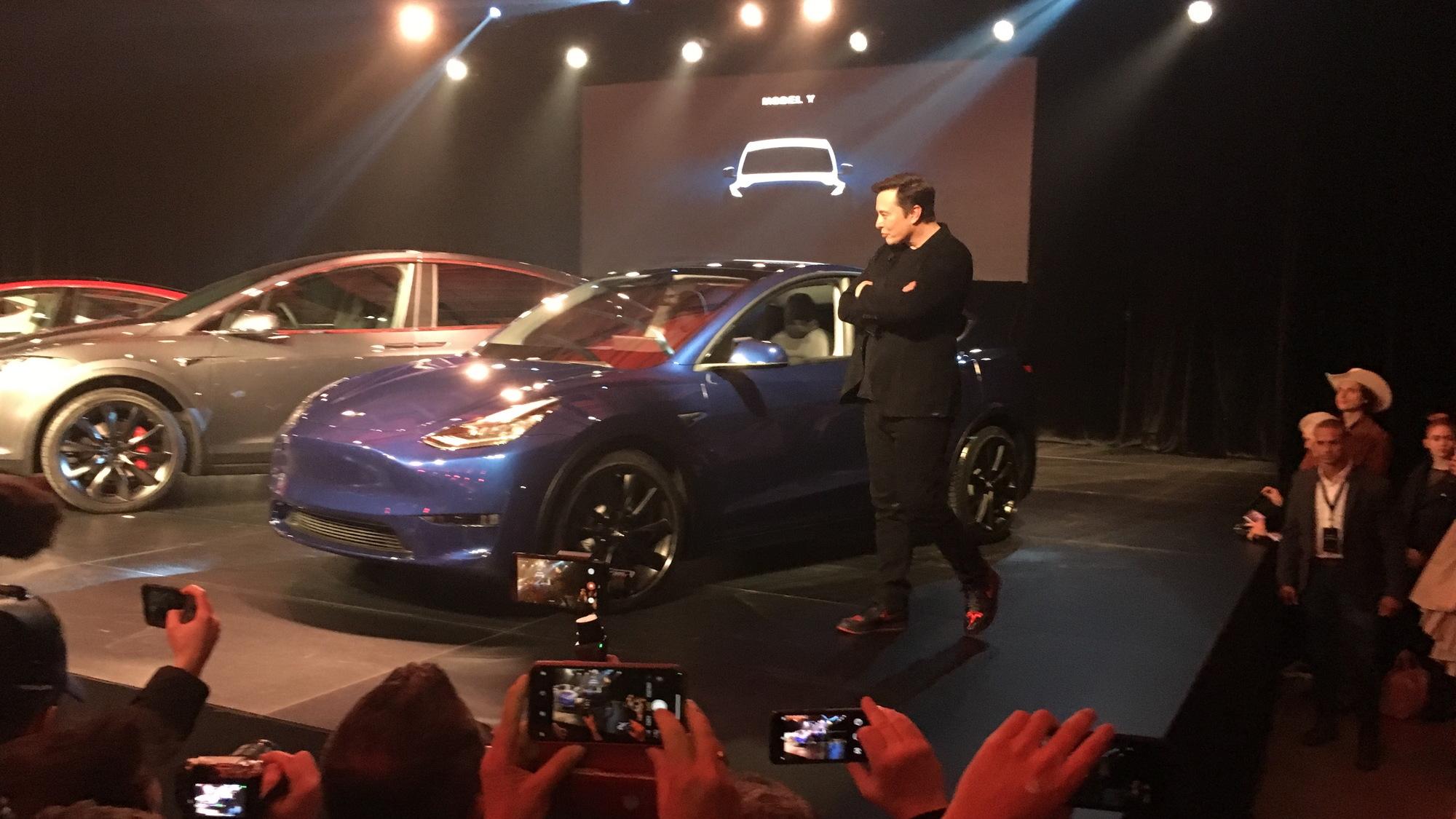 Tesla CEO Elon Musk introducing Model Y