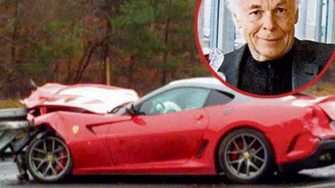 Ferrari 599 GTO crashes on German autobahn