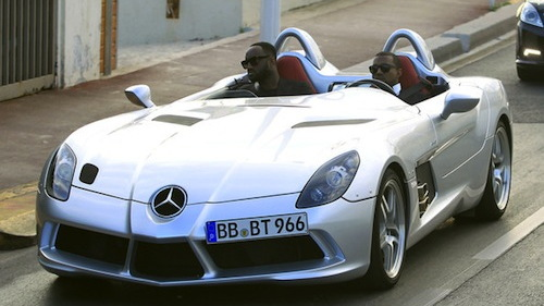 Kanye West and a friend in the Mercedes-McLaren SLR Stirling Moss