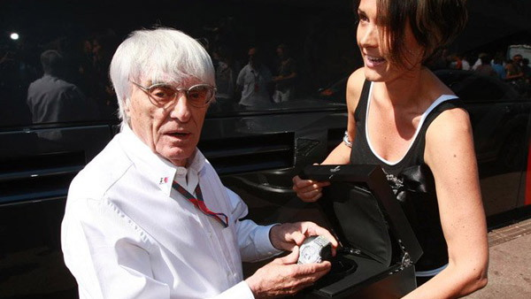 Bernie Ecclestone and Tina Zegg show off 2 million euro Hublot BB watch