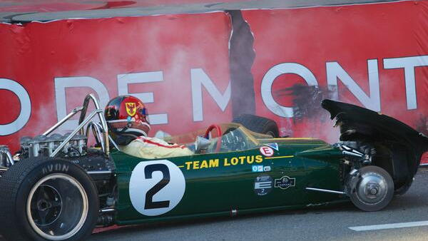 Jim Clark's Lotus 49 crashed at Monaco. Photo via Axis of Oversteer @axisofoversteer