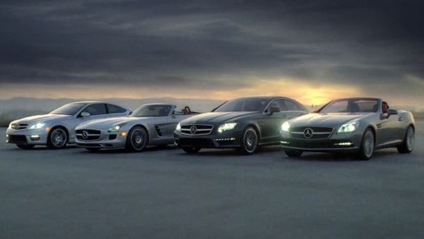 Mercedes-Benz SLS AMG Roadster and C63 AMG Coupe revealed in Super Bowl ad