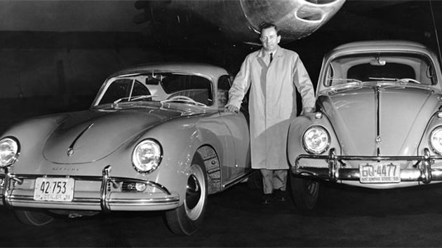 Dr. Ferdinand Porsche with the Porsche Type 356 and VW Type 60