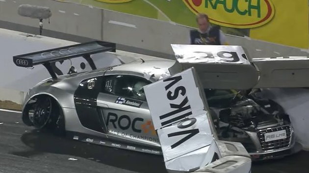 Heikki Kovalainen's crash during the 2010 Race of Champions