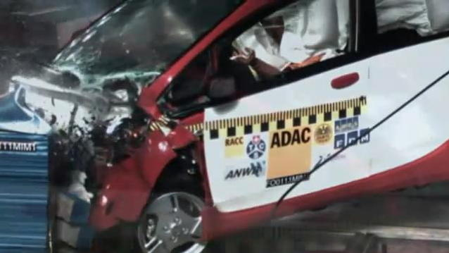 Mitsubishi i-MiEV electric minicar crash-tested by ADAC, December 2010, screen capture