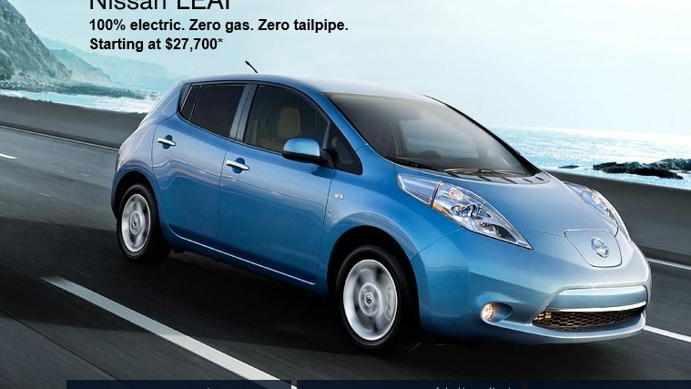 2012 Nissan Leaf electric car - net pricing shown on Nissan website