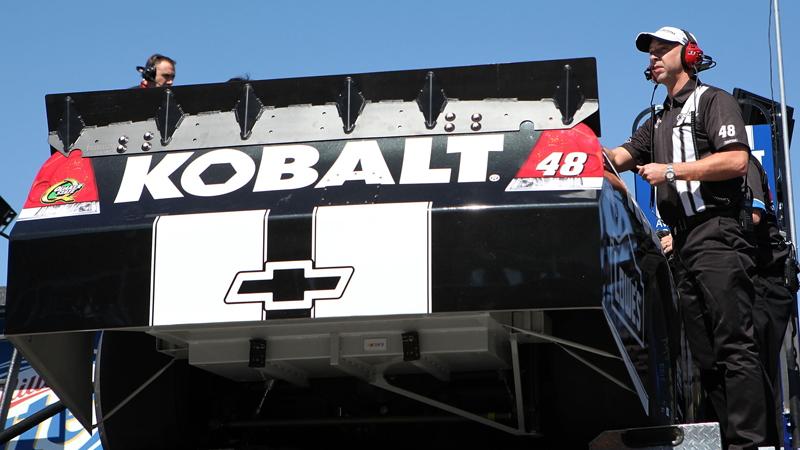 Chad Knaus unloads the No. 48 car at Las Vegas - NASCAR photo
