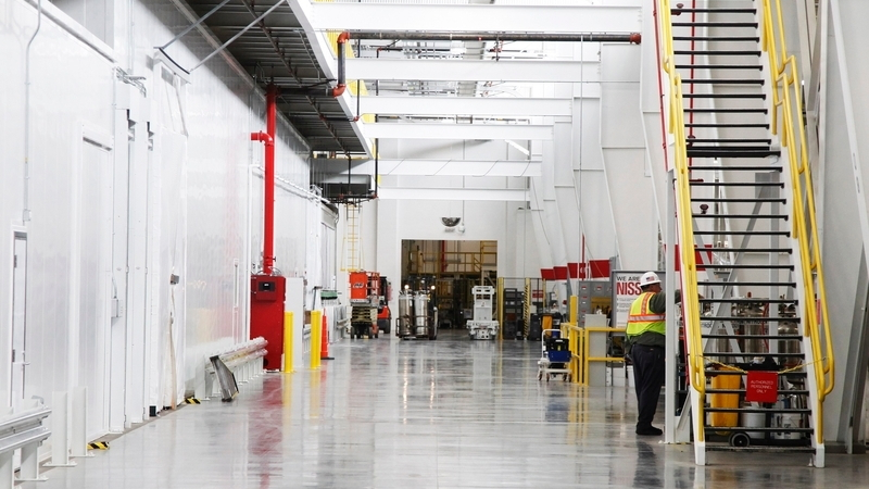 Aisle alongside sealed clean room at Nissan lithium-ion cell fabrication plant in Smyrna, Tennessee
