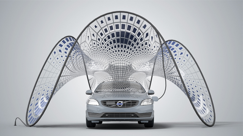 Fold-out solar pavilion for Volvo V60 Plug-In Hybrid (Image: Synthesis Design + Architecture)