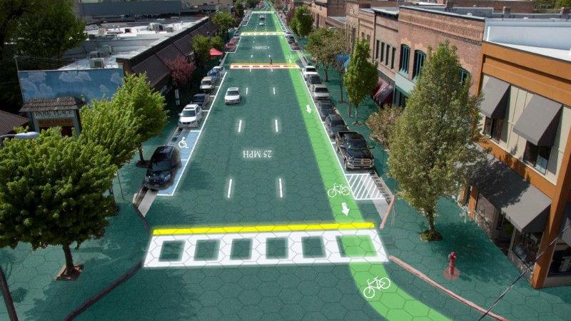 Artist's rendering of Solar Roadways, installed in Sandpoint, Idaho