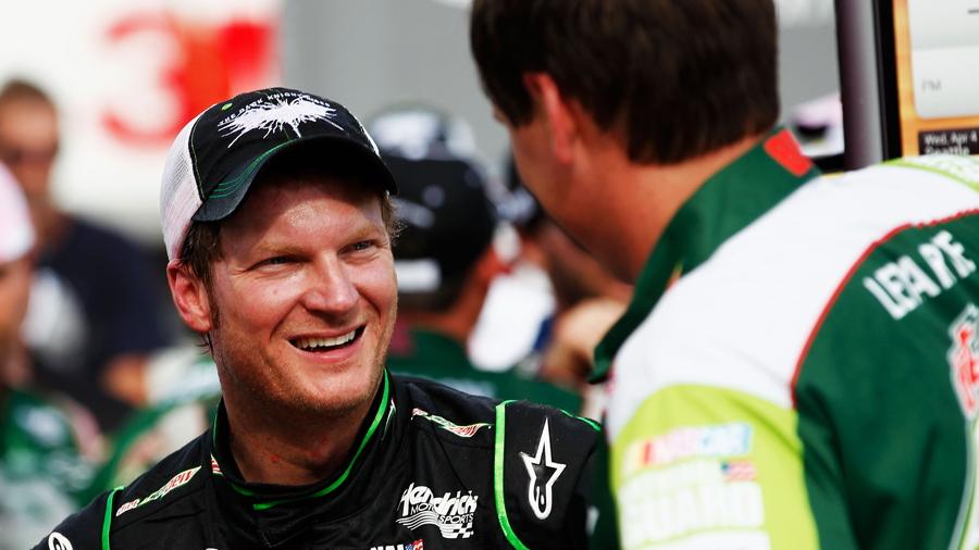 Dale Earnhardt Jr and Steve Letarte celebrate win - NASCAR photo