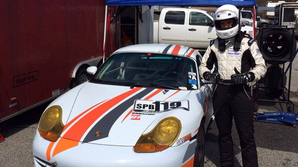 Luke Oxner with his Spec Boxster race car