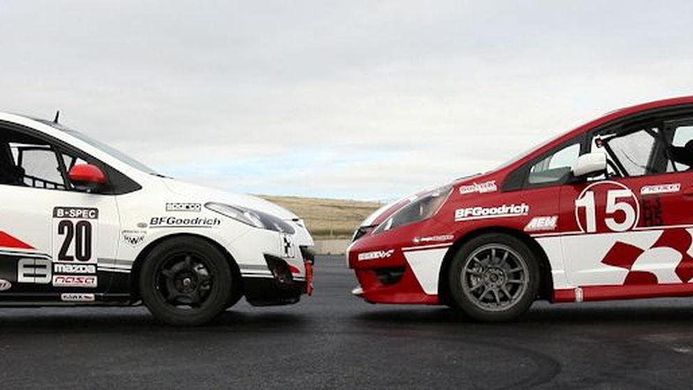 Mazda2 and Honda Fit B-Spec prototype cars