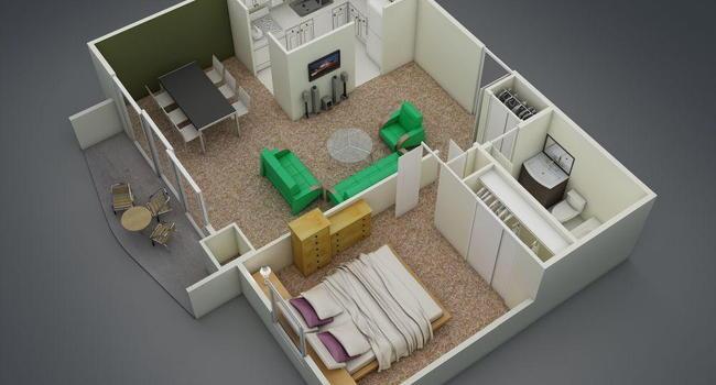 1 Bedroom / 1 Bath / 647 Sq.Ft.
