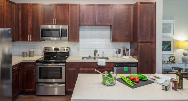 updated kitchen at Griffis Riata apartments in Austin