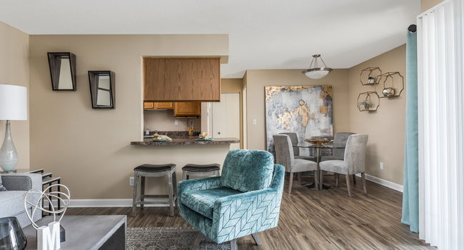 Living and Dining Room View - Meadows Apartments