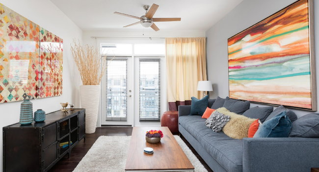 Spacious Living Room with Ceiling Fan